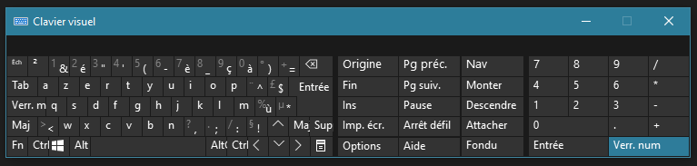 Image du clavier sur écran de windows-10