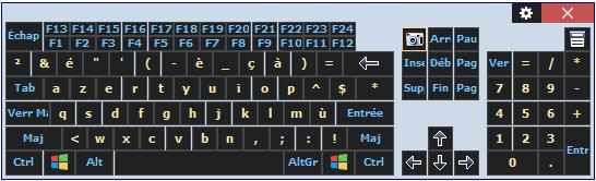 Image du modèle de clavier visuel comfort on-screen keyboard utilisé par le fondateur give access